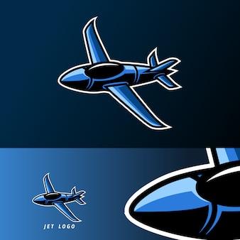 Jet vliegtuig oorlog soldaat mascotte sport gaming esport logo sjabloon voor ploeg team club