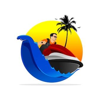 Jetski-logo-ontwerp met golven, kokospalmen, vogels en zonsondergang vectorillustratie