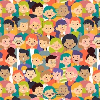 Jeugd mensen patroon plat ontwerp