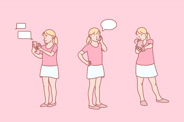 Jeugd, online, verslaving, telefoon, set, illustratie.