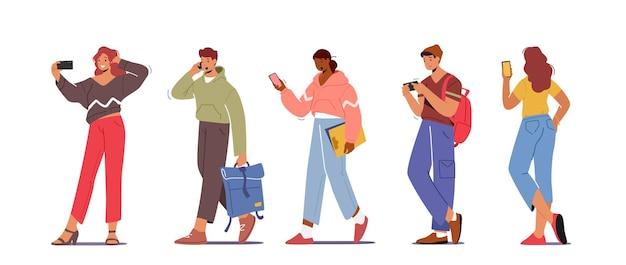 Jeugdpersonages met telefoons, tieners-smartphone