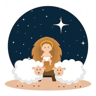 Jezus baby in de wieg van stro