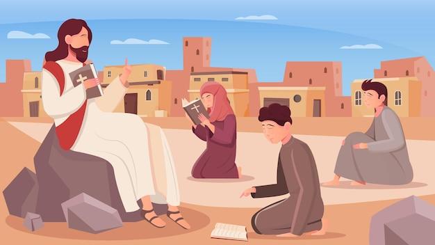 Jezus christus en kinderen lezen heilige bijbel vlakke afbeelding