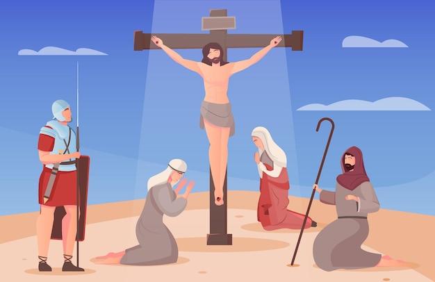 Jezus christus gekruisigd aan het kruis en mensen op hun knieën om hem heen vlakke afbeelding