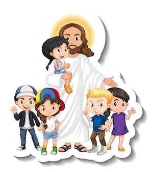 Jezus christus met kinderen groep sticker op witte achtergrond