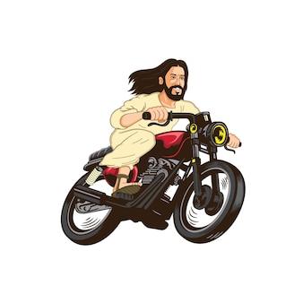 Jezus christus rijdt op een motorfiets