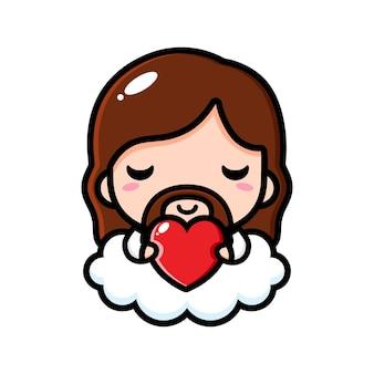 Jezus christus schattig knuffelen een liefdehart