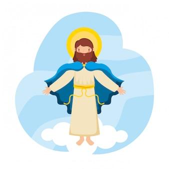 Jezus christus stijgt op naar de hemel.
