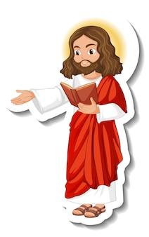 Jezus christus stripfiguur sticker op witte achtergrond