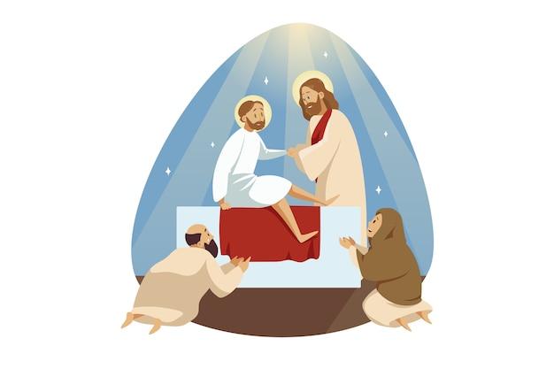 Jezus christus zoon van god bijbelse karakter messias profeet maakt wonderbaarlijke hemelvaart