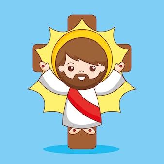 Jezus de verlosser met kruis, cartoon afbeelding