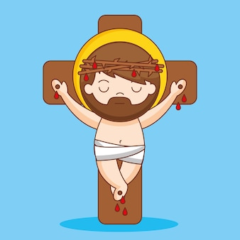 Jezus gekruisigd en gekroond met doornen, cartoon afbeelding