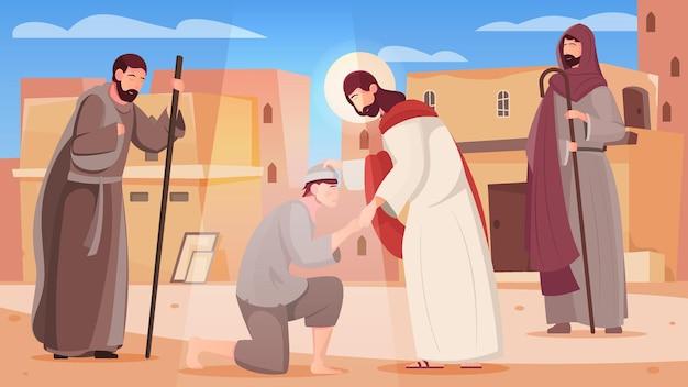 Jezus geneest mensen met zijn handen vlakke afbeelding