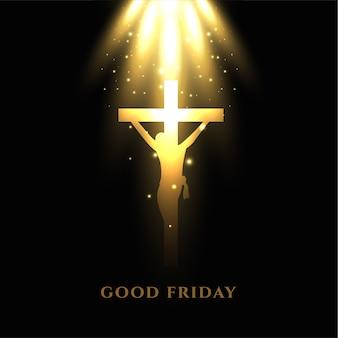 Jezus kruisiging kruis met gloeiende lichtstralen goede vrijdag