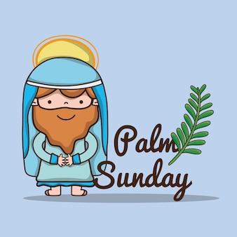 Jezus met palmtak naar katholieke religie