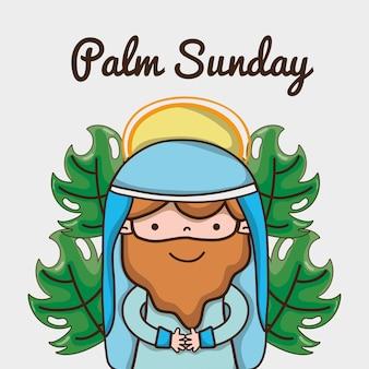 Jezus met palmtakken naar katholieke religie