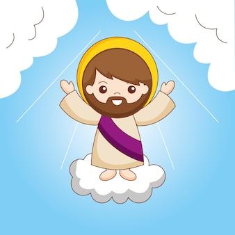 Jezus op wolk tussen hemel. de hemelvaart van jezus naar de hemel, cartoon afbeelding