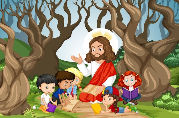 Jezus predikt tot een kindergroep in een boslandschap