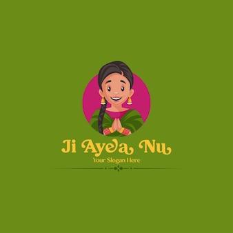 Ji ayea nu indiase vector mascotte logo sjabloon