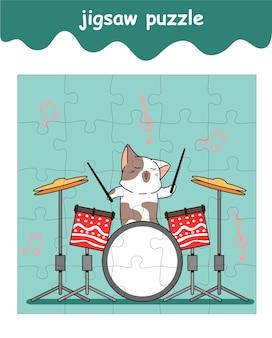 Jigsaw puzzle game of cat speelt percussie cartoon