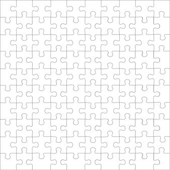 Jigsaw puzzle raster sjabloon. puzzels lege sjabloon of snijrichtlijnen. klassieke mozaïek spelelement vectorillustratie