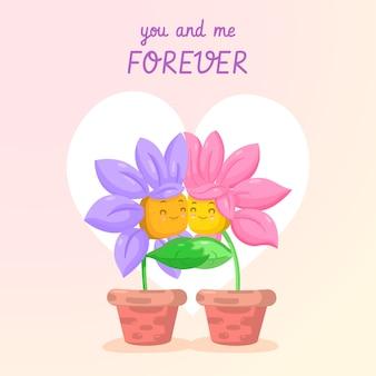 Jij en ik bloeien voor altijd de valentijnskaartachtergrond van het paarpaar
