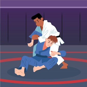 Jiu-jitsu-atleten die vechten