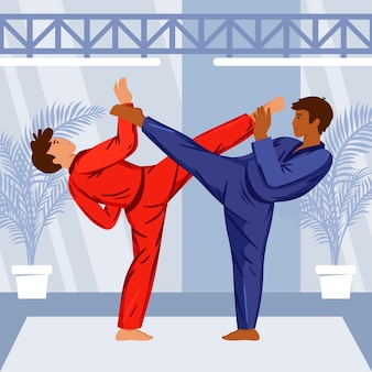 Jiu jitsu-atleten die vechten