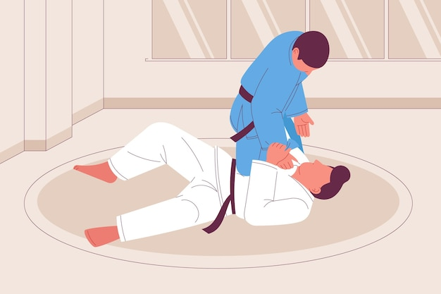 Jiu-jitsu-atleten vechten hand getrokken