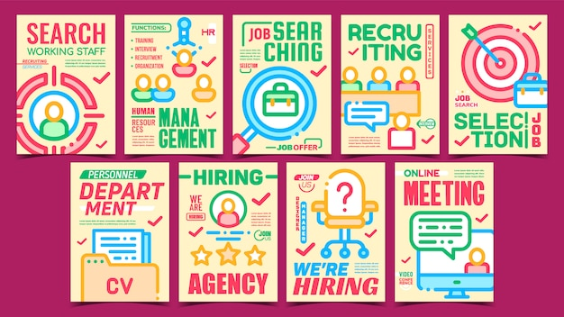 Job hunting creative promo posters set