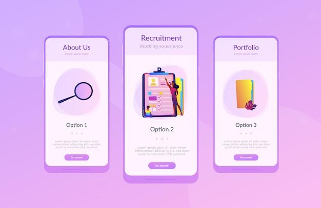 Job interview app interface sjabloon.
