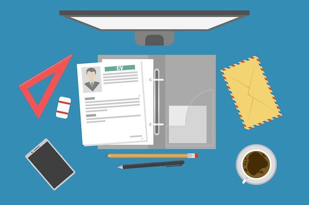 Job interview concept, werving, zoeken naar een baan, hervatten met foto in map
