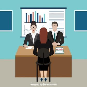 Job interview in het kantoor