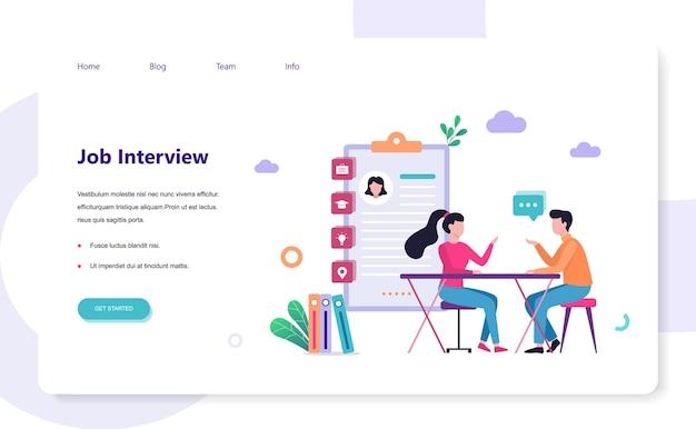 Job kandidaat. idee van werk en sollicitatiegesprek. wervingsmanager zoeken. webbanner. illustratie