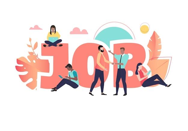 Job koraal poster met mensen die werken personeelswerving en openstaande vacature vector trendy kleur vlakke achtergrondstijl
