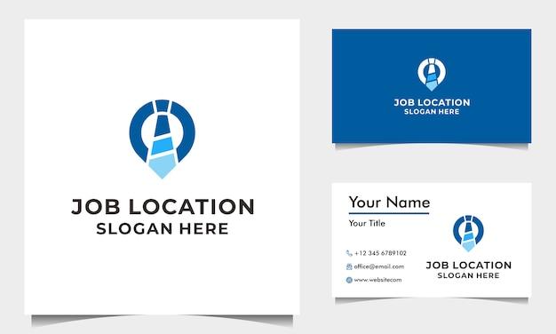Job logo design vector met stropdas en pin kaart