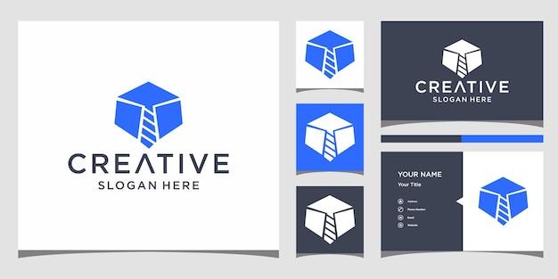 Job stropdas logo-ontwerp met zakelijke kaartsjabloon