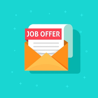 Jobaanbieding tekst op e-mail envelop document platte cartoon icoon