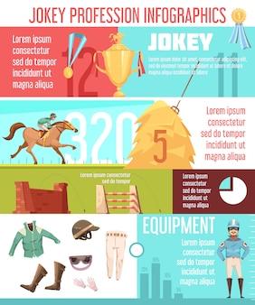 Jockey beroep infographics lay-out met munitie munitie pictogrammen en paardrijden informatie platte vectorillustratie