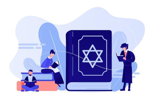 Joden in klederdracht die lezen over religie, thora, kleine mensen. thora jodendom heilig boek, joodse overtuigingen over jezus, orthodox jodendom concept. roze koraal bluevector geïsoleerde illustratie
