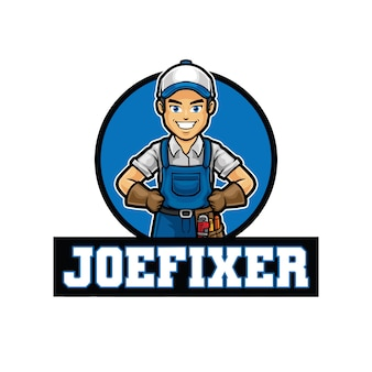 Joe fixer logo mascotte sjabloon