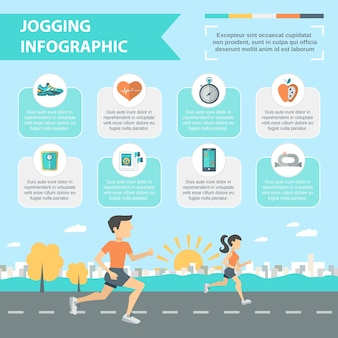 Jogging infographics set