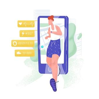 Joggingatleet, sprinter of sportman die uit smartphone en gezondheidsindicatoren loopt. gps-tracking voor hardlopen