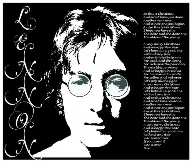 John lennon portret lyrics vector