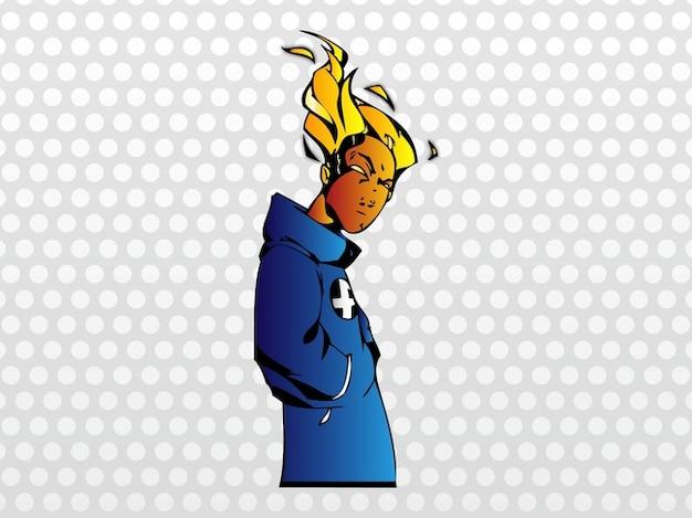 Johnny storm superheld cartoon vector