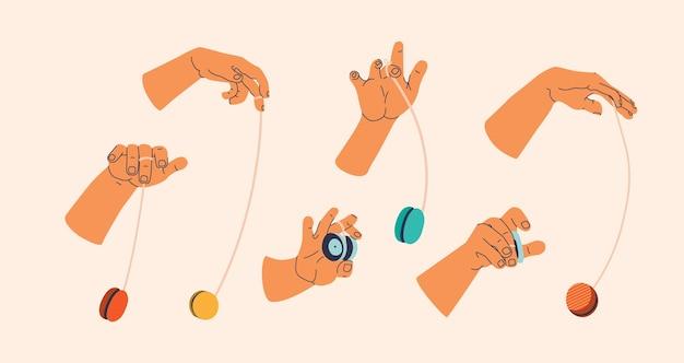 Jojo speelgoed naadloos patroon. eindeloos herhalende afdruk van handen in verschillende poses tijdens het draaien van de jojo.