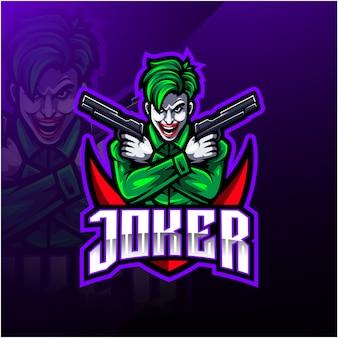 Joker esport mascotte logo ontwerp