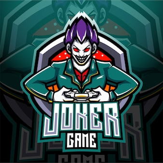Joker game esport mascotte logo Premium Vector