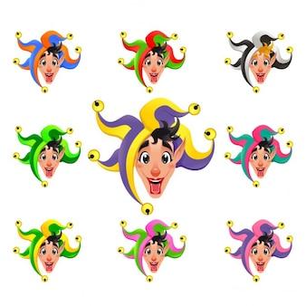 Joker gezichten in verschillende kleuren cartoon vector geïsoleerde objecten