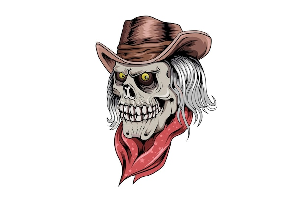 Joker hand getekende schedel hand tekening illustratie